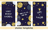 Story template for social media Set with quotes Life Magic Cute Christmas design social net stories