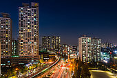 Seoul trains traffic futuristic highrise cityscape night city South Korea