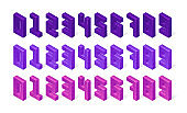 Isometric purple numbers made of 3d cubes, signs