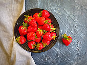 strawberry plate concrete background