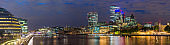 London night cityscape panorama across Thames from Southwark to City