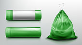 Trash bag mockup, plastic roll, sack with garbage.
