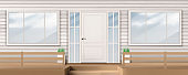 House facade with white door, window, siding wall