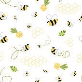 Bee honey pattern Bee floral yellow template Bee seamless pattern Cute honey background bumblebee