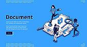Work with documents, bureaucracy isometric landing