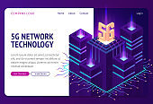 5g network technology isometric landing page.