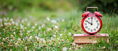 Save time, daylight savings, alarm clock on old books in the grass, web banner