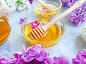 fresh honey flower lilac on concrete background