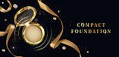 Compact foundation, powder cosmetics open gold jar