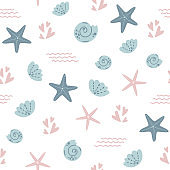 Starfish seamless pattern Summer sea star pattern, cute seashells light background. Nautical baby textile design Vector