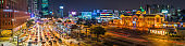 Seoul station rush hour traffic glittering neon night panorama Korea