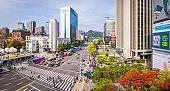 Seoul Sejongno-daero busy downtown city street people traffic panorama Korea