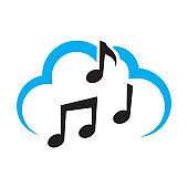 blue cloud and black musical notes