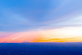 Abstract Sunset across New Mexico landscape from Sandia Peak, Albuquerque, New Mexico, USA.