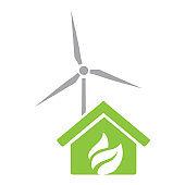 leaves, house and wind turbine