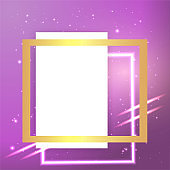 Metallic golden stage with floating geometrical forms and glow neon light, round platform, realistic minimal background, 3d luxury frame scene