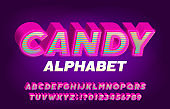 Candy alphabet font. 3D effect bright letters, numbers and symbols.