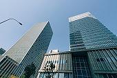 High modern skyscrapers over blue sky