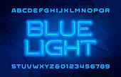 Blue Light alphabet font. Neon color letters and numbers.