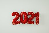 New Year 2021 Creative Design Concept, 3D rendering.