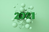 2021 New Year background. Holiday 3d rendering of numbers 2021 and abstract balls. Festive poster or banner design. Party invitation