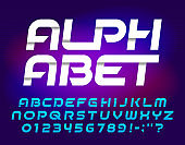 Abstract alphabet font. Oblique geometric letters and numbers. Easy color change. Stock vector typescript for your typography design.