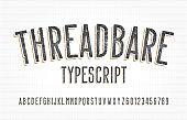 Threadbare alphabet font. Damaged vintage letters and numbers.