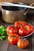 tomatoes with basil and cooking pan