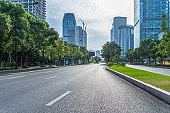 City road through modern buildings in beijing