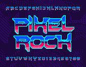 Pixel Rock alphabet font. Retro pixel letters and numbers.