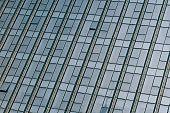 closeup of glass wall of modern building