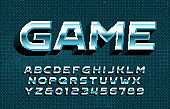 Game alphabet font. 3D pixel metallic letters and numbers.