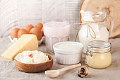 A variety of dairy products, cheese, farm eggs. The concept of the farmer's market. Copy space.