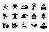 Set of Christmas stencil. Collection of icons. Deer, christmas ball, sledge, bell, candle, sweet, gift etc. Vector stock illlustration. EPS 10