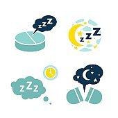 Insomnia pill icons set