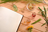 Blank recipe book for medicine elaboration closeup top