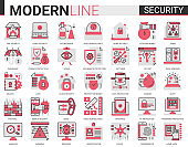 Security flat line concept symbols. Data PC Protection technology. Smart home safety, secure database, data privacy modern red black icons set