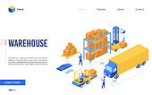Isometric delivery logistic service vector illustration, 3d interface website design with cartoon worker characters work on loader forklift, load pallet boxes