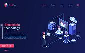 Blockchain crypto technology isometric landing page, cryptocurrency bitcoin analytics