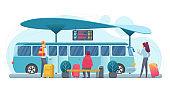 People waiting bus flat vector illustration