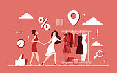 Discount shopping on female clothes concept, seasonal sale