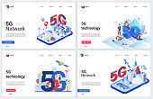 5G telecom network wireless technology vector illustrations with 3d isometric or flat tech global cellular networking system for smart city