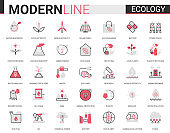 Ecology flat line icon vector illustration set of ecosystem environmental symbols, eco cars and houses, modern green city technology to save environment