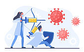 Man and woman doctors fighting with coronavirus using vaccine injection bow prick. Virologists in uniform protecting people from covid-19 corona virus concept. Research process vector illustration