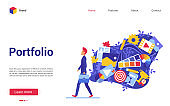 Cartoon flat modern trendy website interface for creative art studio, designer agency with freelancer artist character and artwork cloud