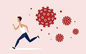 Coronavirus dangerous covid19 cells chasing man concept