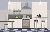 Comfortable modern design kitchen interior flat cartoon vector illustration. Clean room for cooking in light colors, full set necessary furniture, oven, tables with pot, vase and cups, stools.
