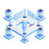 Data analytics platform isometric vector illustration