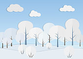 White trees in winter forest vector illustration
