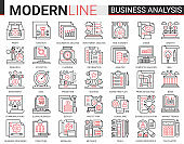 Business analytics thin red black line icons vector illustration set, businessman analyst tools for digital analyzing stock market information, consulting strategy